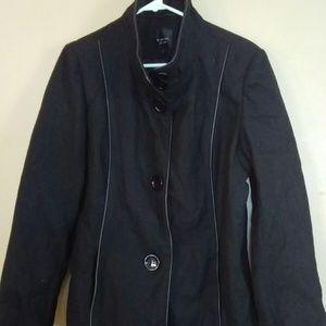 Braetan Large Black Lined Pea Coat Jacket